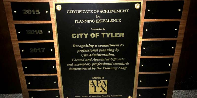 City of Tyler Planning Department wins statewide award